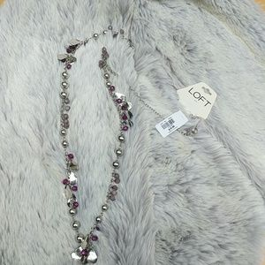 NWT Long Loft Necklace with Purple Beads
